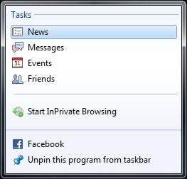 IE9 Task Bar Shortcut Options